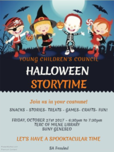 Halloween StoryTime in Milne Library Terc center, Friday October 27, 2017