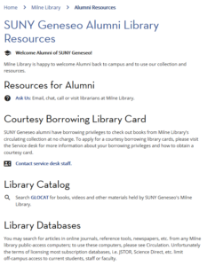 SUNY Geneseo Alumni Resources at Milne Library