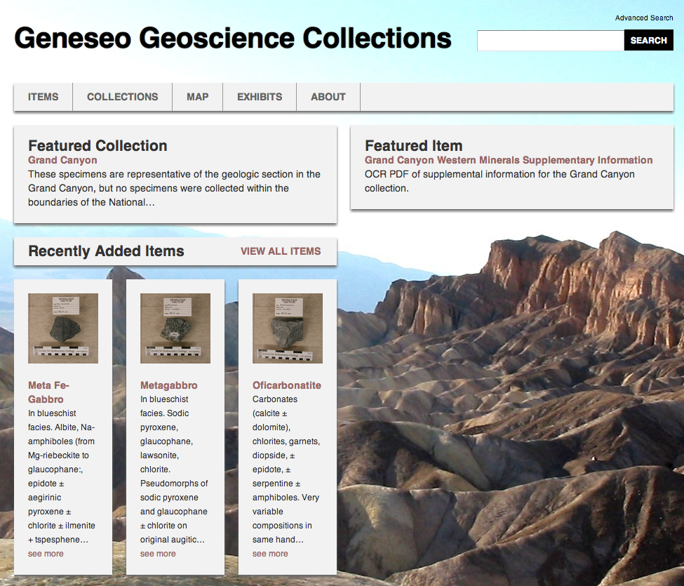 The Geneseo Geosciences Collections website