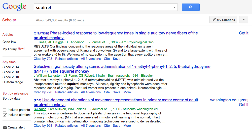 Google Scholar search results