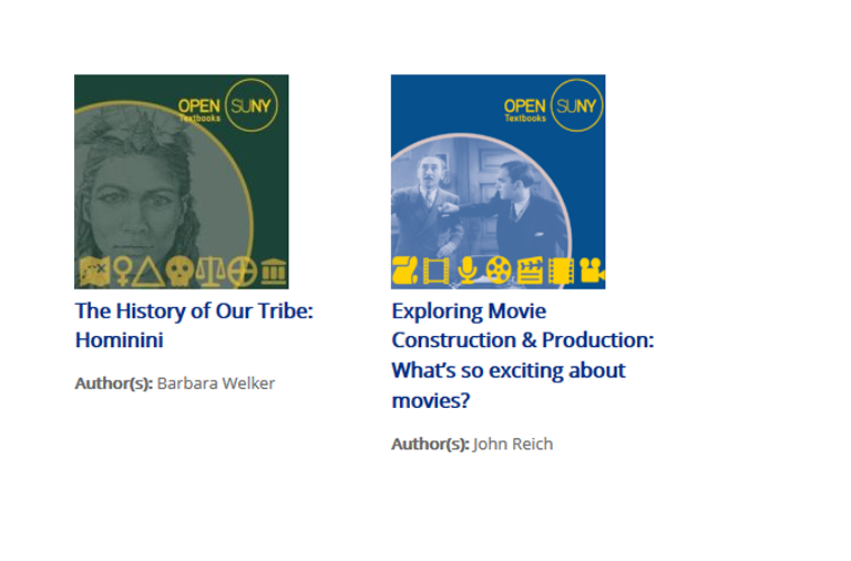 New OpenSUNY Textbooks: Evolution of Our Tribe: Hominini, and Exploring Movie Construction & Production: What's So Exciting about Movies