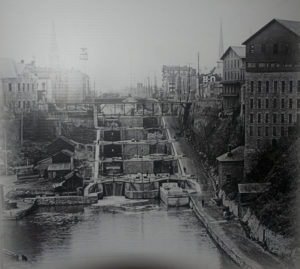 "Photo of ""Flight of five"" locks, in Lockport. (Image from the New York State Archives"