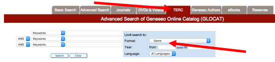 Screenshot of an example search in GLOCAT Classic demonstrating limiters to get search results for the games held in the TERC collection.