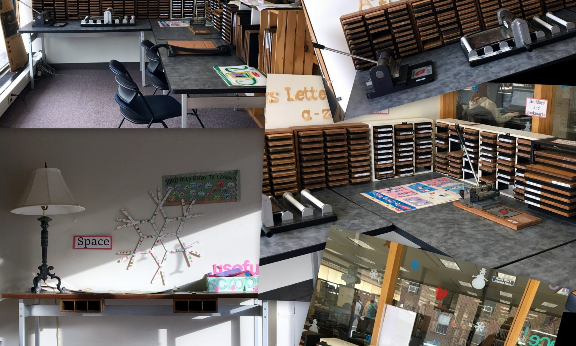 Images of the items available in the Imaginarium. Tables, Cricut, chairs.