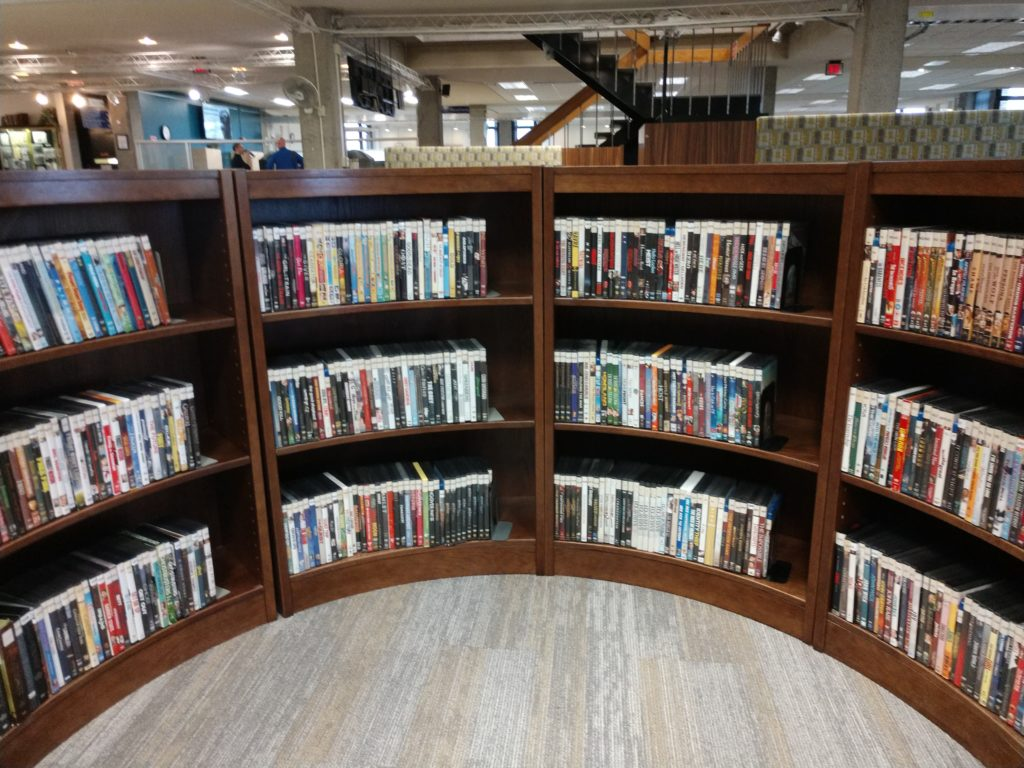 Milne Library DVD collection on the Main Floor