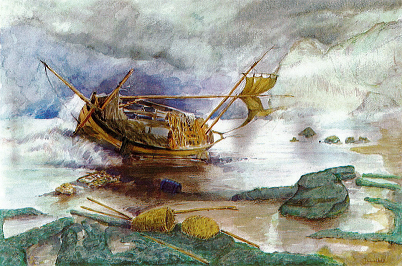 Shipwreck painting by Djamel Ameziane in 2011 from Guantanamo Bay Prison