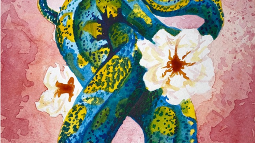 Snake and Flower, watercolor by Abigail Chenette