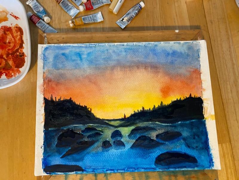 Landscape, watercolor by Olivia Delahunt, SUNY Geneseo