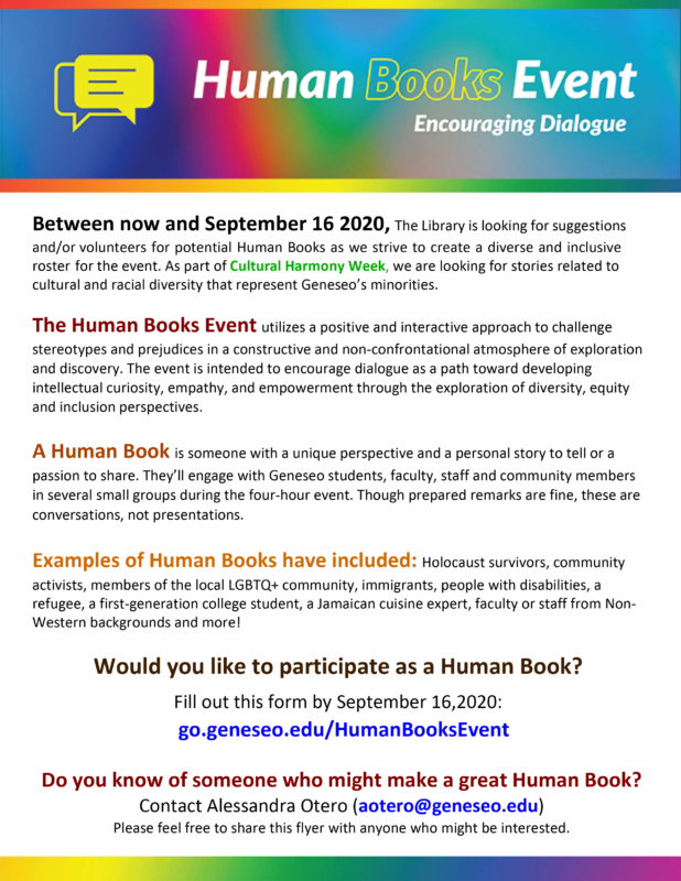 Human Books Event Flyer image and event description