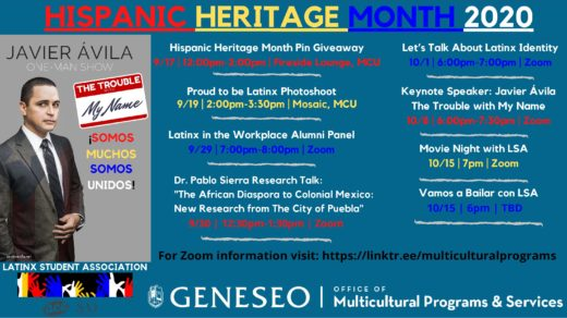 SUNY Geneseo 2020 Hispanic Heritage Month Events