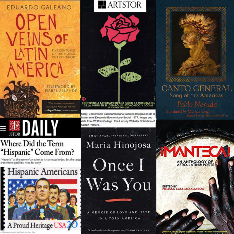 Collage of recommended reading, journals, and art collections for Hispanic Heritage Month