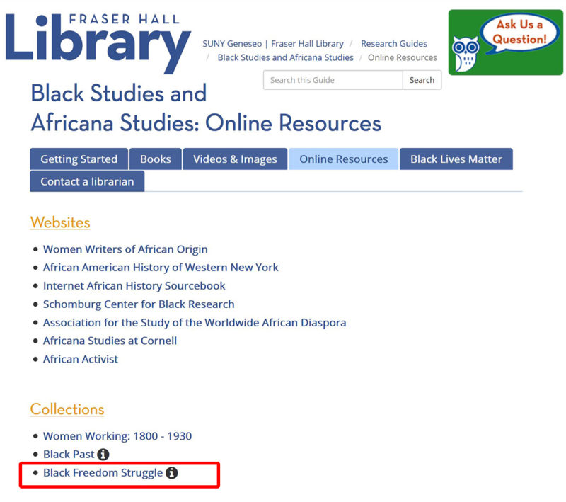 Black Africana Studies LibGuide Fraser Hall Library SUNY Geneseo