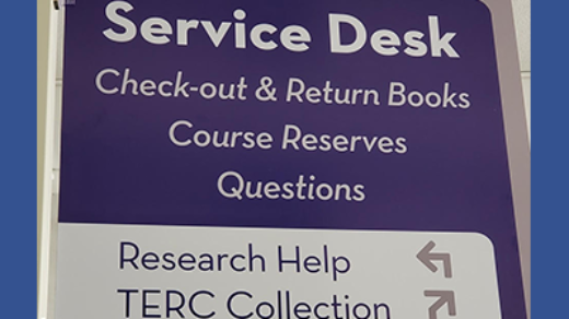 Fraser Hall Library Service Desk Sign
